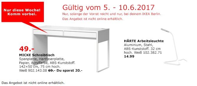 IKEA MICKE Schreibtisch, 142x50 cm, 75 cm hoch, weiß