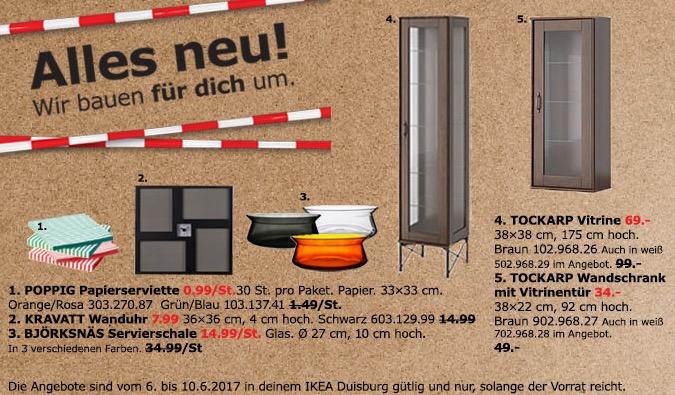 IKEA TOCKARP Vittrine, 38x38 cm, 175 cm hoch, braun oder weiß
