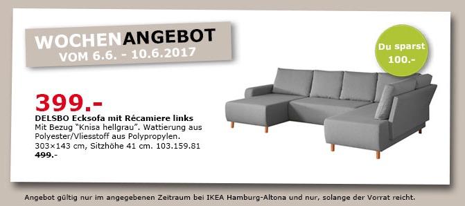 IKEA DELSBO Ecksofa mit Repariere links, 303x143 cm, Sitzhöhe 42 cm, Knies hellgrau