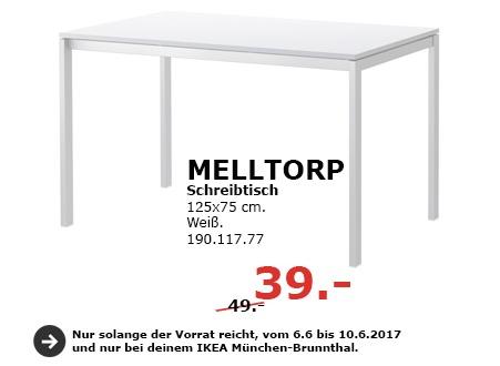 IKEA MELLTORP Schreibtisch, 125x75 cm, weiß