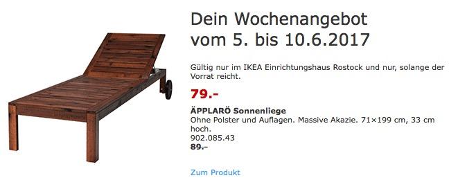 IKEA ÄPPLARÖ Sonnenliege Ohne Polster und Auflagen. Massive Akazie. 71×199 cm, 33 cm hoch.