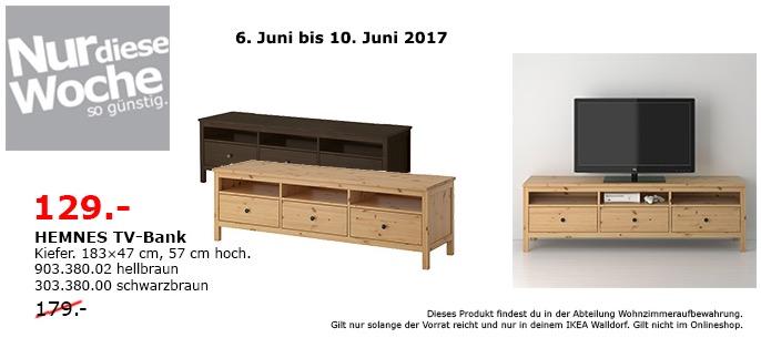 IKEA HEMNES TV-Bank, 183x47 cm, 57 cm hoch, Kiefer, hellbraun oder schwarzbraun