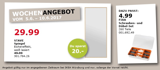 IKEA STAVE Spiegel Eicheneffekt, 70x160 cm, weiß lasiert
