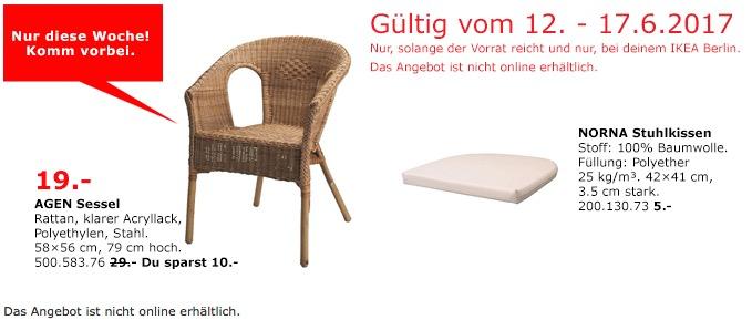 IKEA AGEN Sessel, Rattan, 58x56 cm, 79 cm hoch