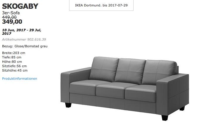 IKEA SKOGABY 3er-Sofa, Bezug: Glose/Bomstad grau
