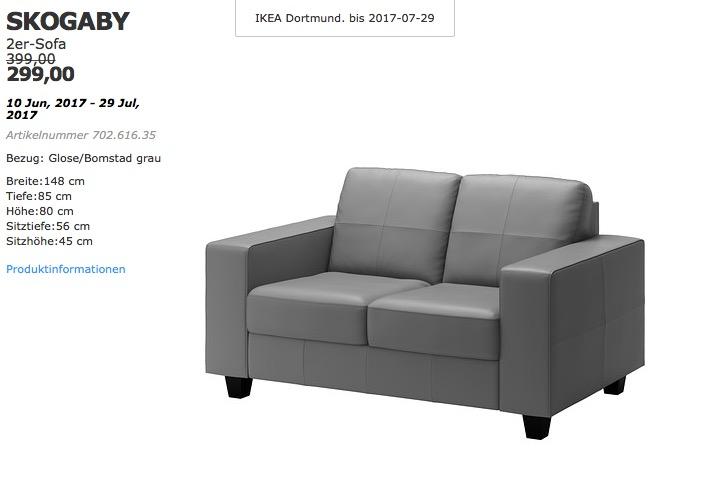 IKEA SKOGABY 2er-Sofa, Bezug: Glose/Bomstad grau