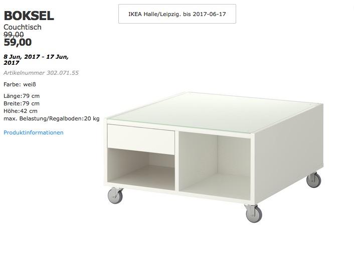 IKEA BOKSEL Couchtisch, 79x79 cm, 42 cm hoch, weiß - jetzt 40% billiger