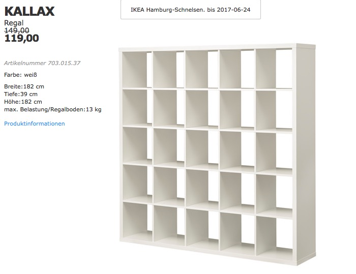 IKEA KALLAX Regal, 182x39 cm, 182 cm hoch, weiß