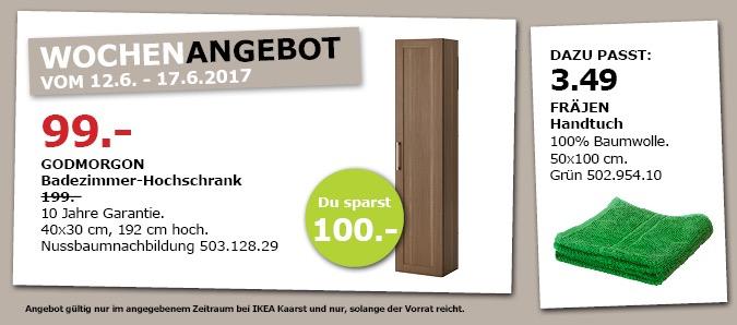 IKEA GODMORGON Badezimmer-Hochschhrank, 40x30 cm, 192 cm hoch. Nussbaumnachbildung