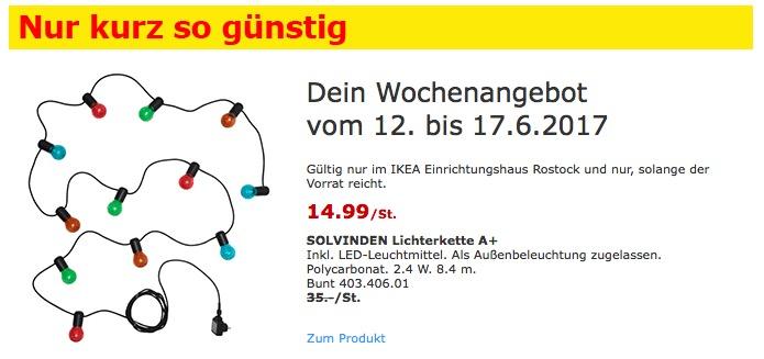 IKEA SOLVINDEN Lichterkette A+ Inkl. LED-Leuchtmittel. Als Außenbeleuchtung zugelassen. 8,4 Meter lang.