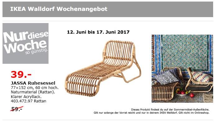 IKEA JASSA Ruhesessel, 77x152 cm, 60 cm hoch, Rattan.