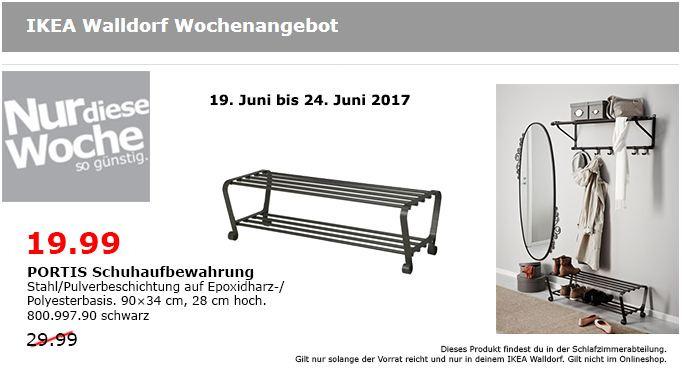 IKEA PORTIS Schuhaufbewahrung 90x34 cm, 28 cm hoch, schwarz