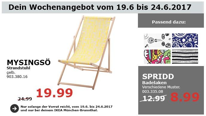 IKEA MYSINGSÖ Strandstuhl, gelb