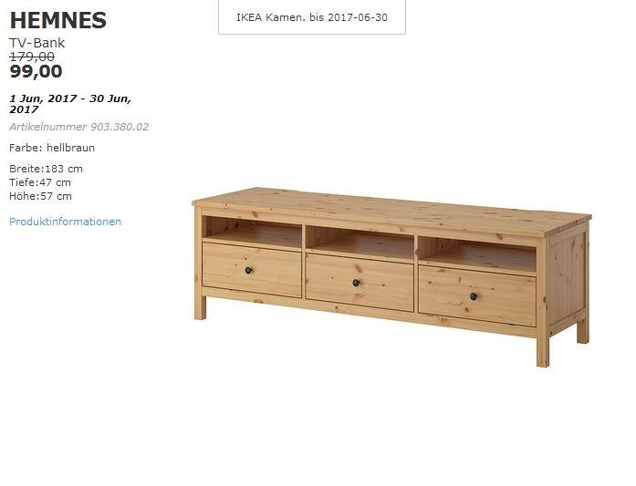 IKEA HEMNES TV-Bank, Massivholz, hellbraun,  Breite:183 cm, Tiefe:47 cm, Höhe:57 cm.