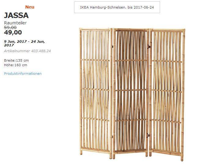 IKEA JASSA Raumteiler, Rattan, 160x135 cm.