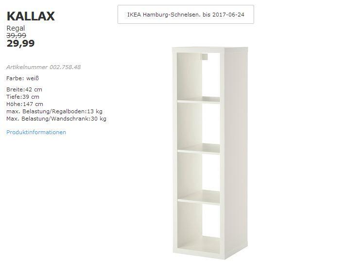 IKEA KALLAX Regal, 42x39 cm, 147 cm hoch, weiß