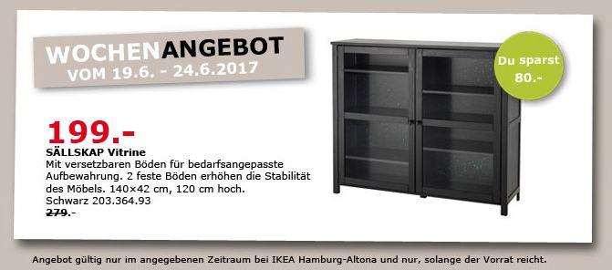 IKEA SÄLLSKAP Vitrine, 140x42 cm, 120 cm hoch, schwarz