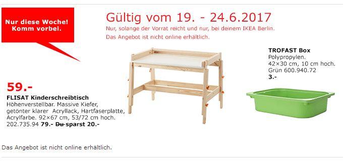 IKEA  FLISAT Kinderschreibtisch, höhenverstellbar, massive Kiefer, 92x67 cm, 53/72 cm hoch.