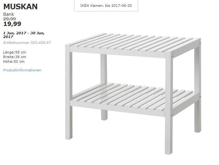IKEA  MUSKAN Bank, 58x38 cm, 50 cm hoch, weiß