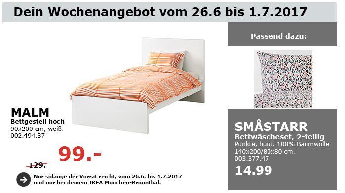 IKEA MALM Bettgestell hoch, 90x200 cm, weiß