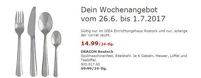 IKEA DRAGON Besteck. Edelstahl. 24-tlg. Je 6 Gabeln, Messer, Löffel und Teelöffel.