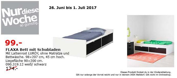 IKEA FLAXA Bett mit Schubladen und Lattenrost, 90x200 cm, weiß/schwarz
