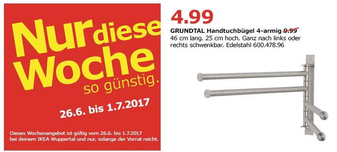 IKEA GRUNDTAL Handtuchhalter 4-armig, edelstahl