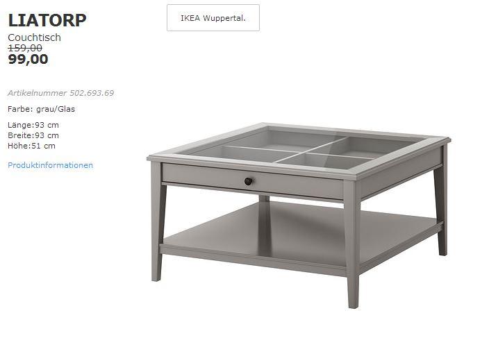IKEA LIATORP Couchtisch, 93x93 cm, 51 cm hoch, grau/Glas