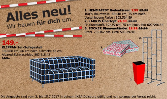 IKEA KLIPPAN 2er-Sofa, 180x88 cm, 66 cm hoch, 43 cm Sitzhöhe, Alvared schwarzblau