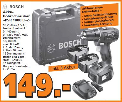 Bosch Akku-Bohrschrauber PSR 1800 Li-2 mit 3. Akku