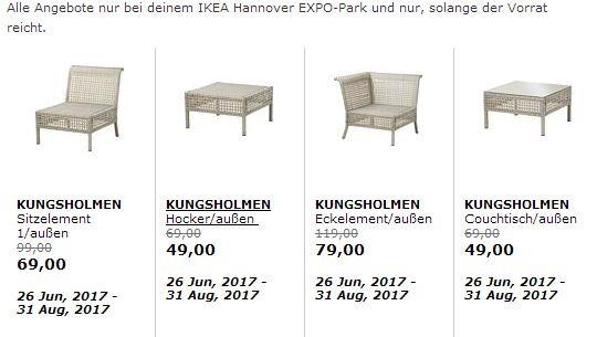 IKEA KUNGSHOLMEN Sitzelement /außen, hellgrau