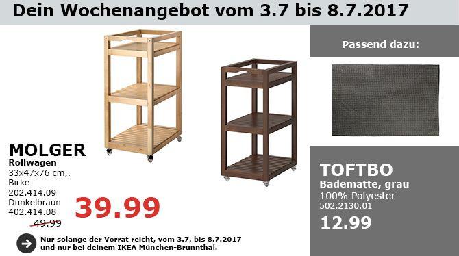 IKEA MOLGER Rollwagen, 33x47x76 cm, Birke, dunkelgrau