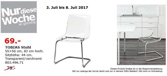 IKEA  TOBIAS Stuhl, 55x65 cm, 82 cm hoch, transparent, verchromt