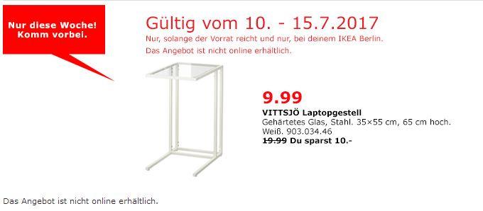 IKEA VITTSJÖ Laptopgestell, 35x55 cm, 65 cm hoch, weiß, Glas