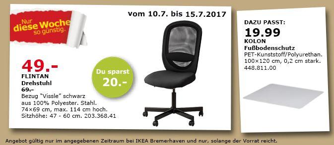 IKEA  FLINTAN Drehstuhl, 74x69 cm, 114 cm hoch, Vissle schwarz