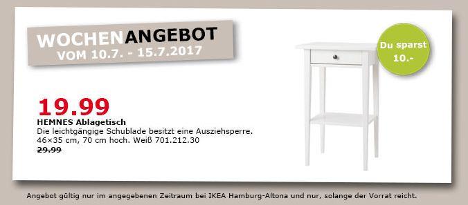 IKEA  HEMNES Ablagetisch, 46x35 cm, 70 cm hoch, weiß gebeizt
