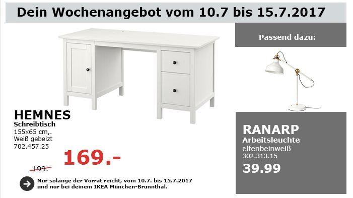 IKEA  HEMNES Schreibtisch, 155x65 cm, weiß gebeizt