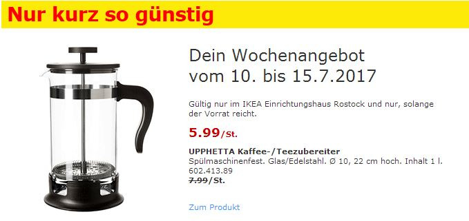 IKEA  UPPHETTA Kaffee-/Teezubereiter, 1 L, Glas, Edelstahl