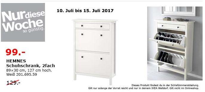 IKEA  HEMNES Schuhschrank, 2fach, 89x30 cm, 127 cm hoch, weiß