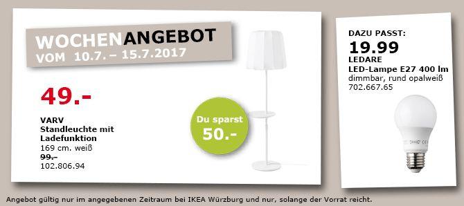 IKEA  VARV Standleuchte mit Ladefunktion, 169 cm hoch, weiß