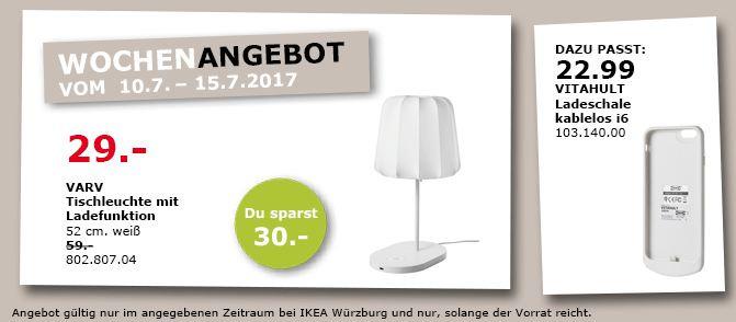 IKEA  VARV Tischleuchte mit Ladefunktion, 52 cm hoch, weiß