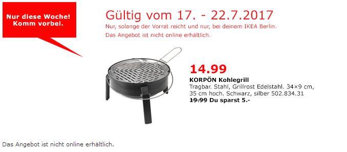 IKEA  KORPÖN Kohlegrill, tragbar, 28 cm Grillfläche, schwarz