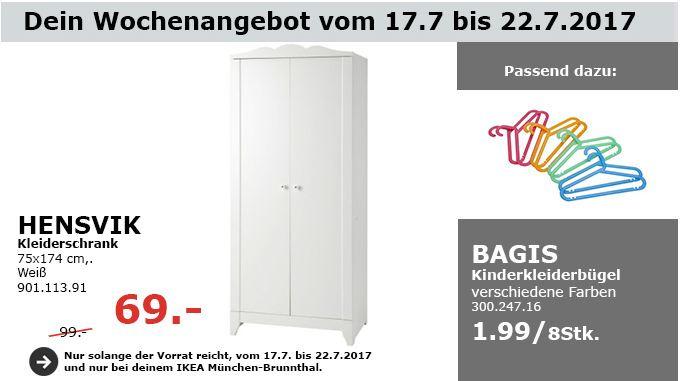 IKEA HENSVIK Kleiderschrank, 75x174 cm, weiß