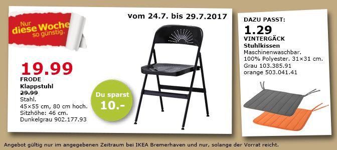 IKEA  FRODE Klappstuhl, 45x55 cm, 80 cm hoch, dunkelgrau