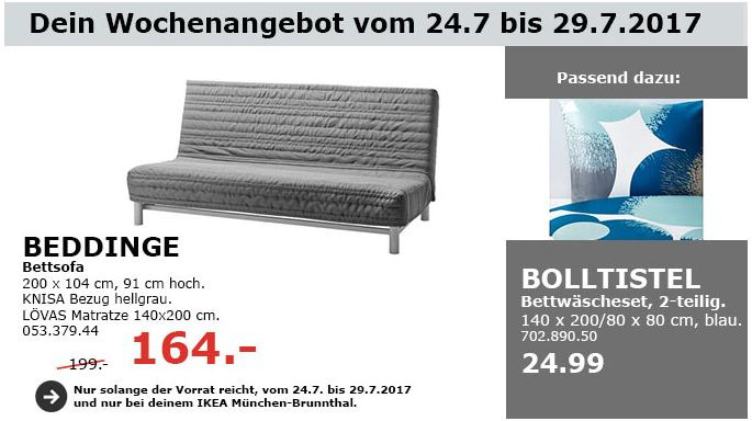 IKEA  BEDDINGE 3er-Bettsofa, 200x104 cm, 91 cm hoch, Knisa hellgrau