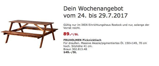 IKEA FRUHOLMEN Picknicktisch für draußen. Massive Akazie/pigmentiertes Öl. 150×149, 70 cm hoch, braun