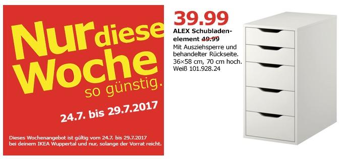 IKEA ALEX Schubladenelement, 5 Schubladen, 36x58 cm, 70 cm, weiß