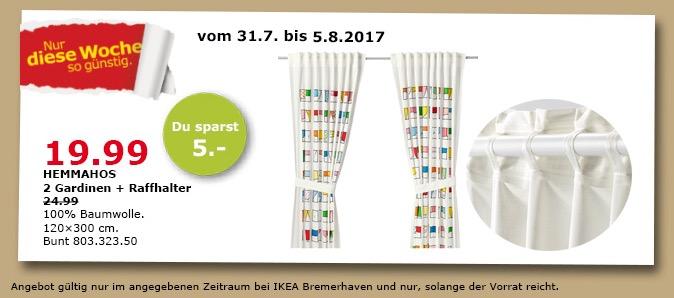 IKEA HEMMAHOS 2 Gardinen + Raffhalter, 120x300cm, bunt