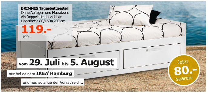 IKEA BRIMNES Tagesbettgestell, Liegefläche 80/160x200 cm