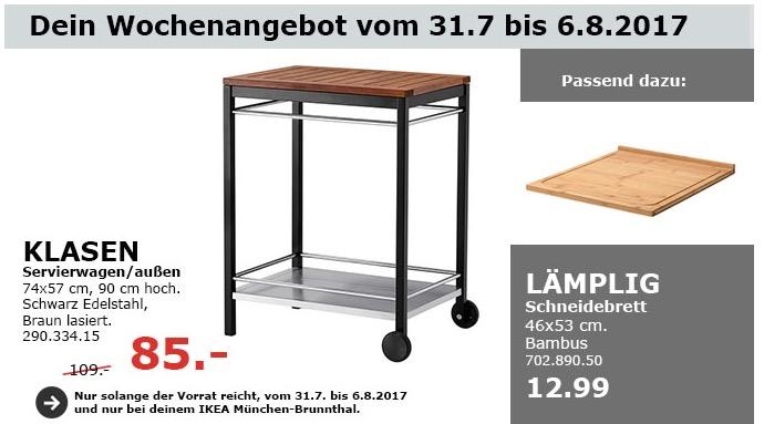 IKEA KLASEN Servierwagen/außen, 74x57 cm, 90 cm hoch, Edelstahl, braun lasiert